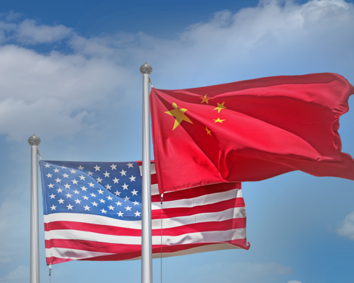 USA and China flags waving in the wind
